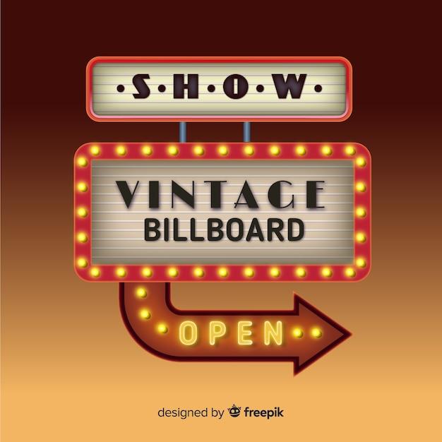 Panneau d'affichage vintage réaliste Vecteur gratuit