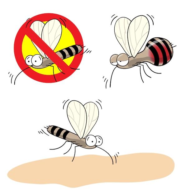 Panneau D'arrêt De Moustiques - Image De Dessin Animé De Vecteur De Moustique Drôle Ivre De Sang Et Dans Un Cercle Barré Rouge Vecteur Premium