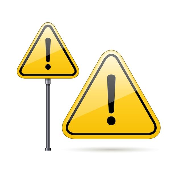 Panneau D'avertissement De Danger De Vecteur Isolé Sur Blanc Vecteur gratuit