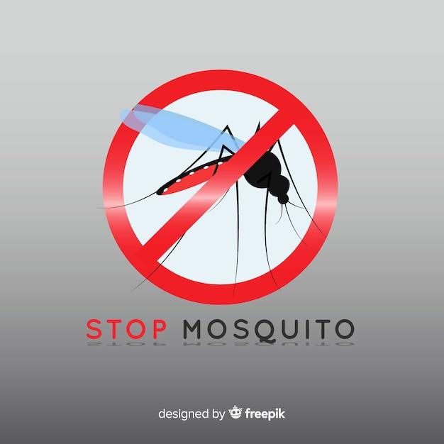 Panneau d'avertissement de moustique avec design plat Vecteur gratuit