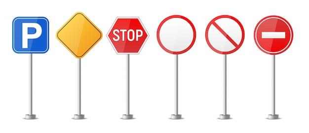 Panneau D'avertissement De Route, Modèle De Réglementation Du Trafic Isolé Sur Fond Blanc Ensemble De Collection. Illustration Vecteur Premium