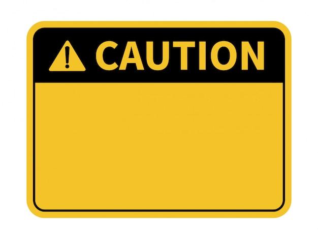 Panneau d'avertissement vide. fond jaune fond avec un espace pour l'écriture de texte. Vecteur Premium