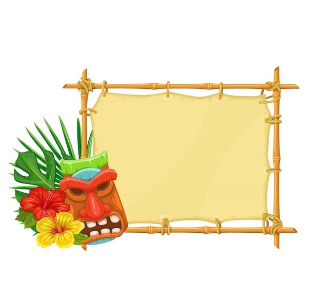 Panneau En Bambou Tiki Vecteur Premium