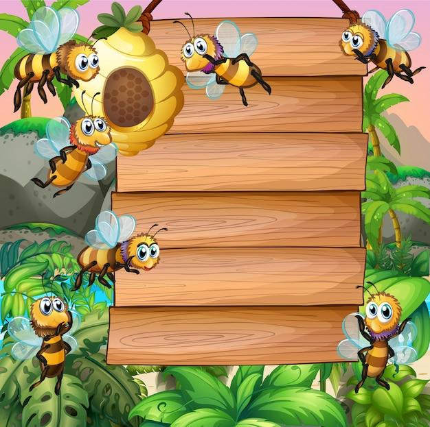 Panneau en bois avec abeille qui vole dans le jardin Vecteur gratuit