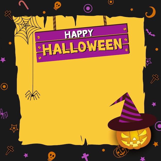 Panneau de bois halloween Vecteur Premium