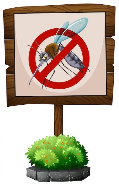 Panneau En Bois Sans Moustiques Vecteur gratuit