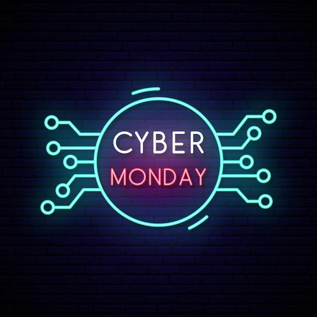 Panneau de cyber-lundi au néon. signe de vente lumineux. Vecteur Premium