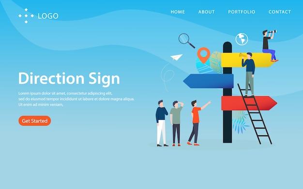 Panneau de direction, modèle de site web, en couches, facile à modifier et à personnaliser, concept d'illustration Vecteur Premium