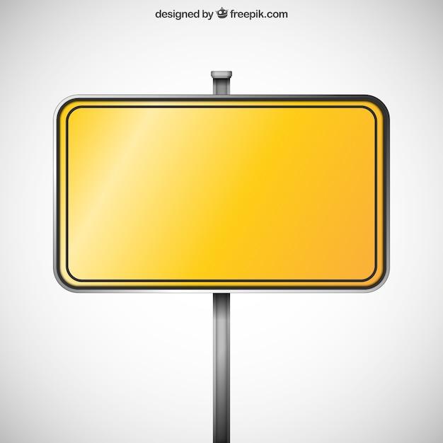 Panneau jaune blank Vecteur gratuit