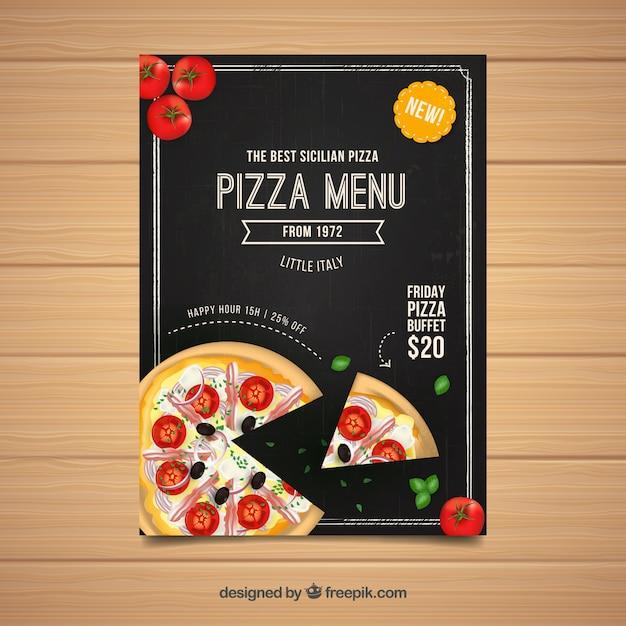 Panneau De Menu Pizza Vecteur gratuit