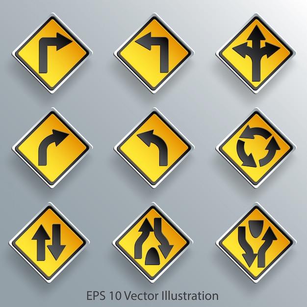 Panneau de signalisation de direction Vecteur Premium
