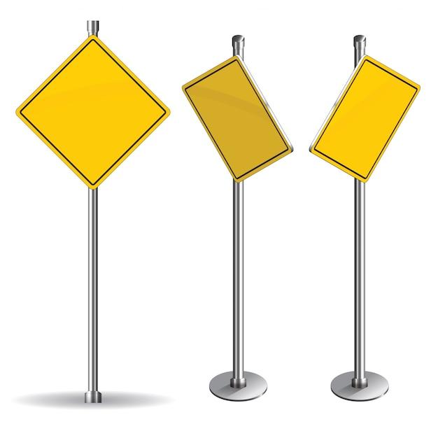 Panneau de signalisation jaune blanc sur fond blanc Vecteur Premium