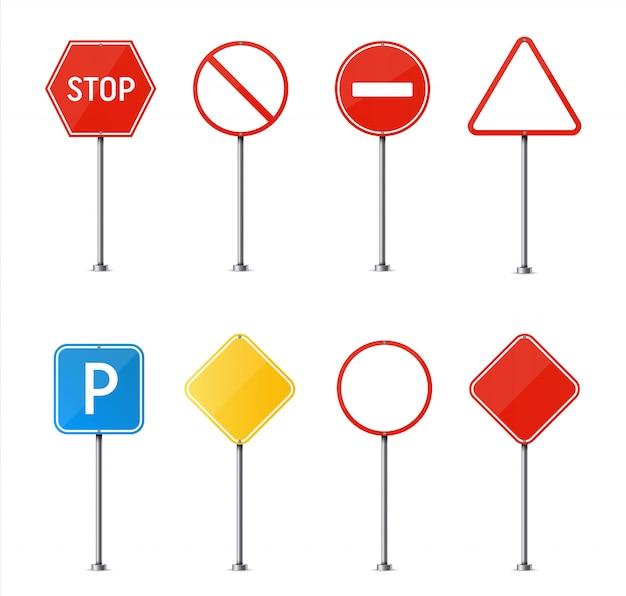 Panneau de signalisation. plaque vierge de circulation routière. Vecteur Premium