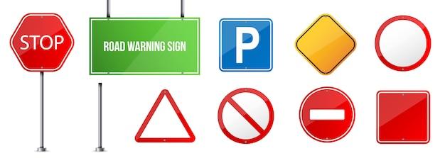 Panneau de signalisation routière, modèle de réglementation de la circulation. Vecteur Premium