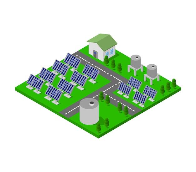 Panneau Solaire Isométrique Vecteur gratuit