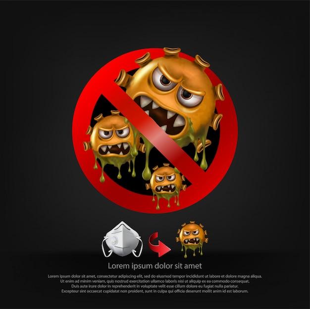 Panneau Stop. Les Cellules Du Virus Covid-19 Ou Le Virus Corona Et Les Bactéries Se Bouchent Isolé Sur Fond Noir. Vecteur Premium