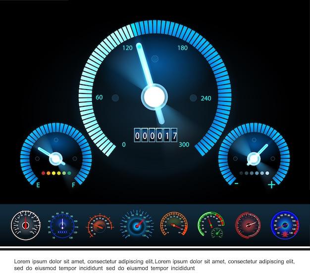 Panneau De Tableau De Bord De Voiture Avec Tachymètre Indicateur De Carburant Et Compteurs De Vitesse Colorés Sur Dark Vecteur gratuit