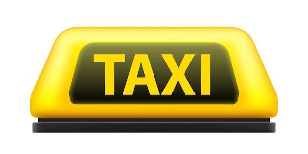 Panneau de toit de voiture de service de taxi jaune dans la rue. Vecteur Premium
