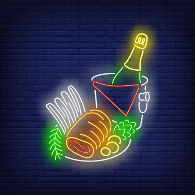 Panneau de viande de noël rouleau néon Vecteur gratuit