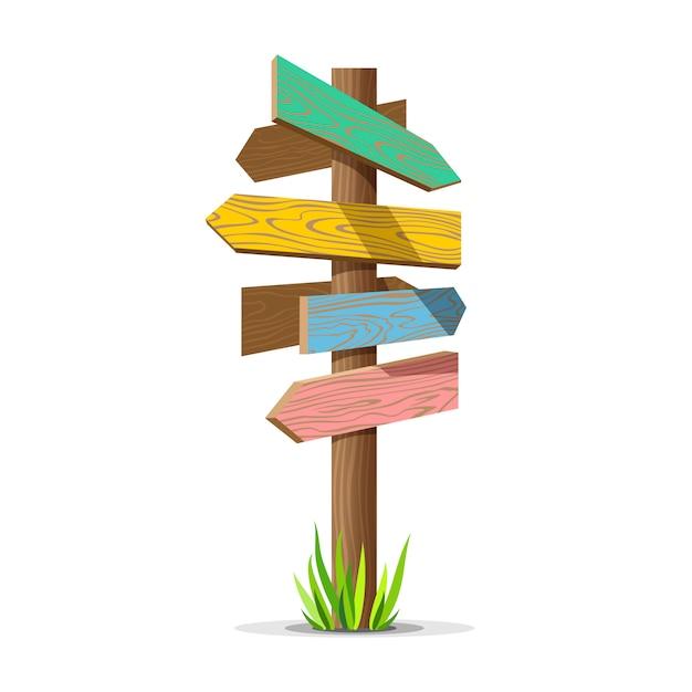 Panneau vide de flèche en bois colorée Vecteur Premium