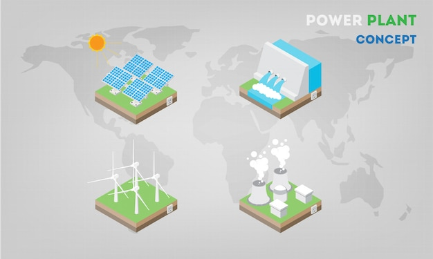 Panneaux De Centrales électriques Isométriques à Plat. L'énergie Alternative Moderne Vecteur Premium