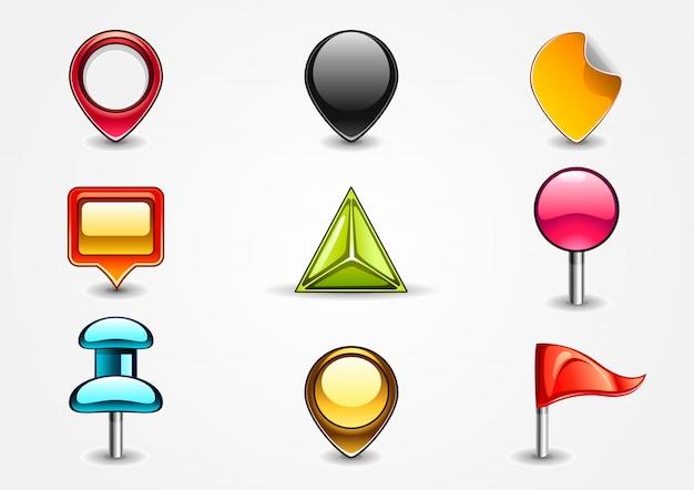 Panneaux de navigation colorés Vecteur Premium