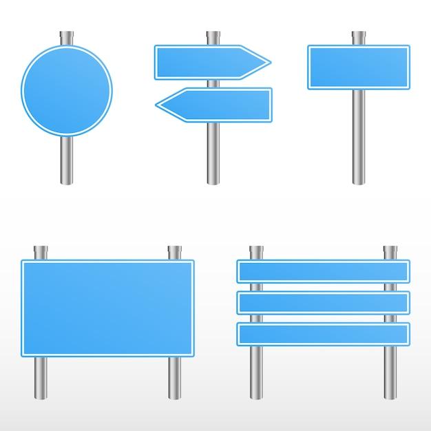 Panneaux de signalisation bleus. Vecteur Premium