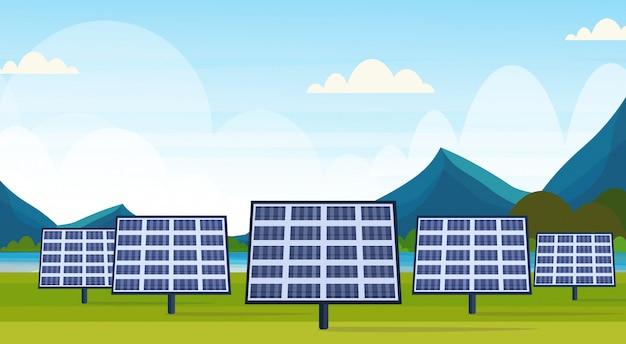Panneaux Solaires Champ Propre Alternative énergie Source Renouvelable Station Photovoltaïque District Concept Naturel Paysage Rivière Montagnes Fond Horizontal Vecteur Premium