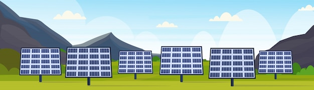 Panneaux Solaires Champ Propre Alternative énergie Source Renouvelable Station Photovoltaïque Quartier Concept Naturel Paysage Montagnes Fond Horizontal Bannière Vecteur Premium