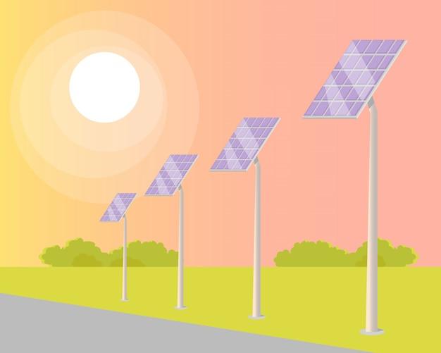 Panneaux solaires tournés vers le soleil brillant le long de la route Vecteur Premium