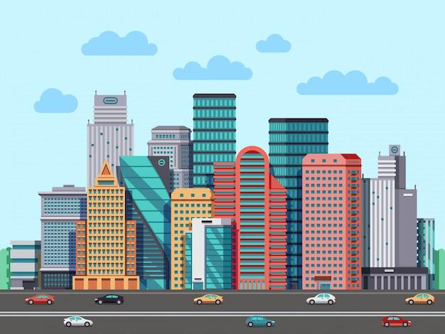Panorama des bâtiments de la ville Vecteur Premium