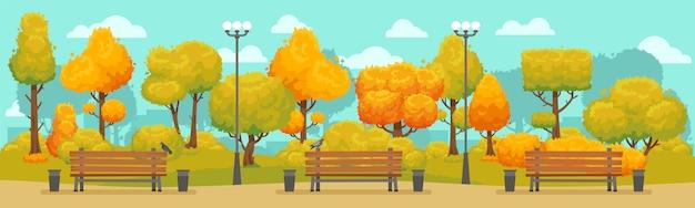 Panorama du parc automne Vecteur Premium