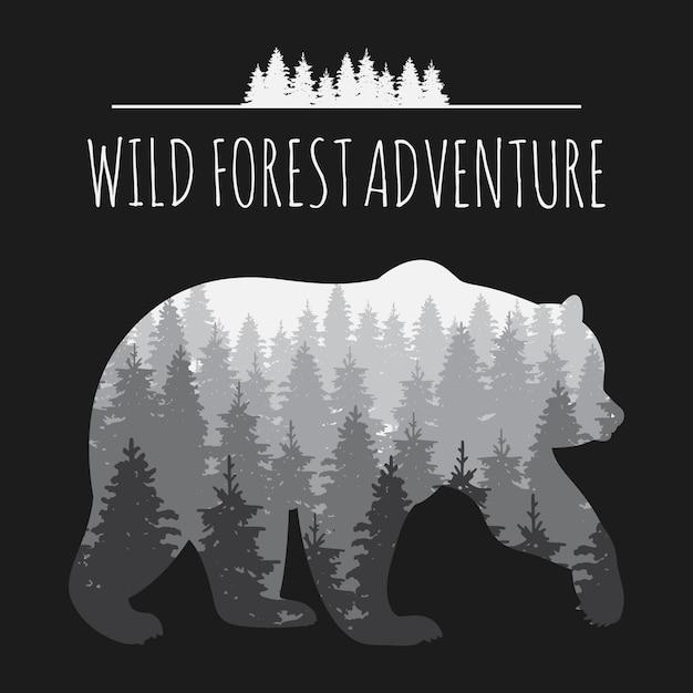 Panorama forestier vintage en silhouette d'ours Vecteur Premium
