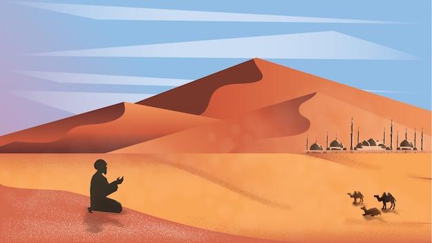 Panorama de l'homme musulman prient dans le désert. Vecteur Premium