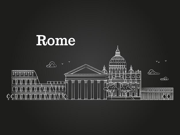 Panorama De Rome Linéaire Blanc Avec Des Bâtiments Célèbres Vecteur Premium