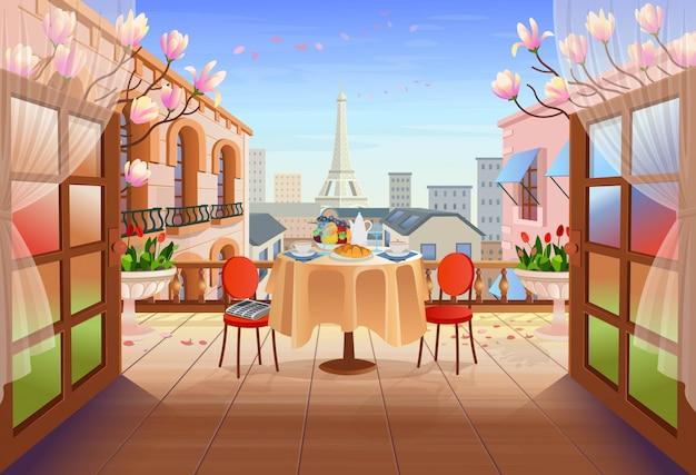 Panorama Rue Paris Avec Portes Ouvertes, Table Avec Chaises, Maisons Anciennes, Tour Et Fleurs. Sortie Sur La Terrasse Avec Vue Sur La Ville, Illustration De La Rue De La Ville En Style Cartoon. Vecteur Premium