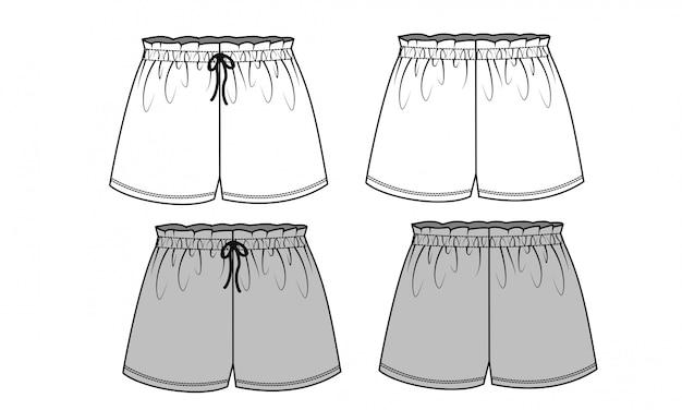 Pantalon Court Modèle De Croquis Plat Vecteur Premium