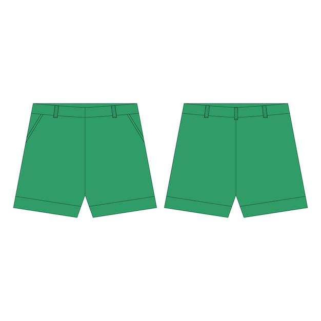 Pantalon Short Aux Couleurs Vertes Pour Les Filles Isolées. Vêtements Enfant Croquis Technique. Vecteur Premium