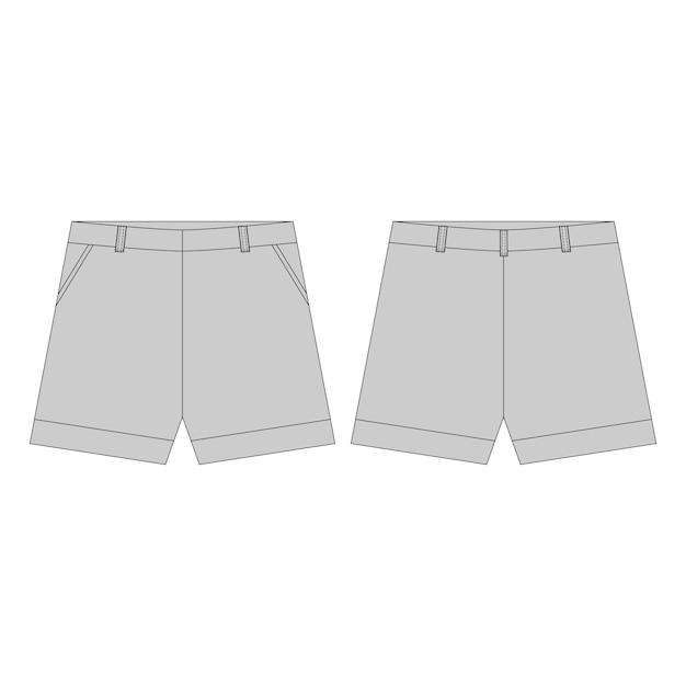 Pantalon Short De Couleurs Grises Pour Filles Isolées. Croquis Technique Sportswear Vêtements Enfant .. Vecteur Premium