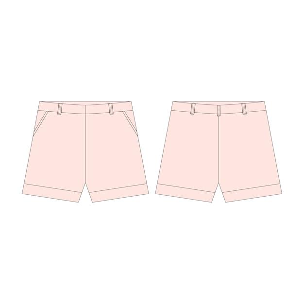 Pantalon Short Rose Pour Les Filles Isolées. Vecteur Premium
