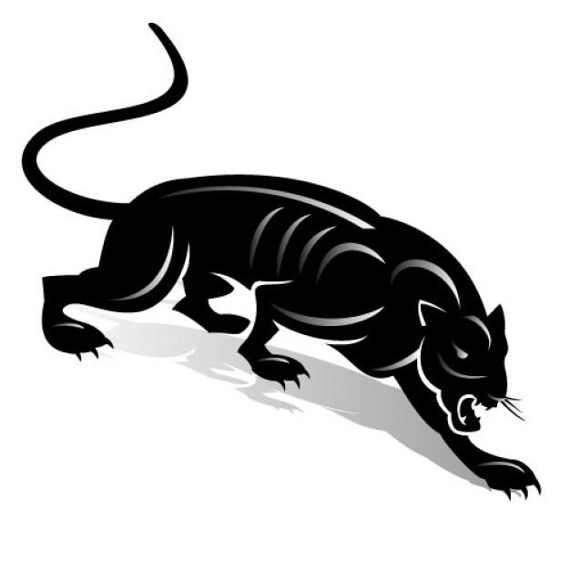 Panthère noire avec des lignes simples sur fond blanc