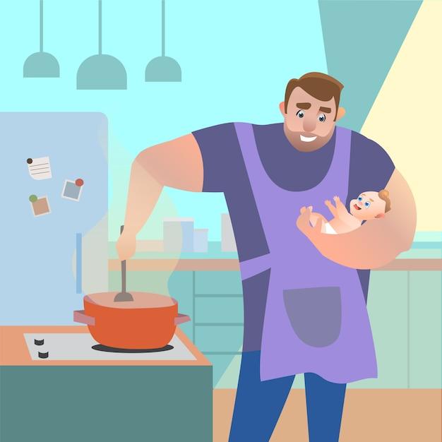Papa dans la cuisine avec un enfant dans ses bras en train de préparer un repas. illustration de dessin animé de vecteur Vecteur Premium