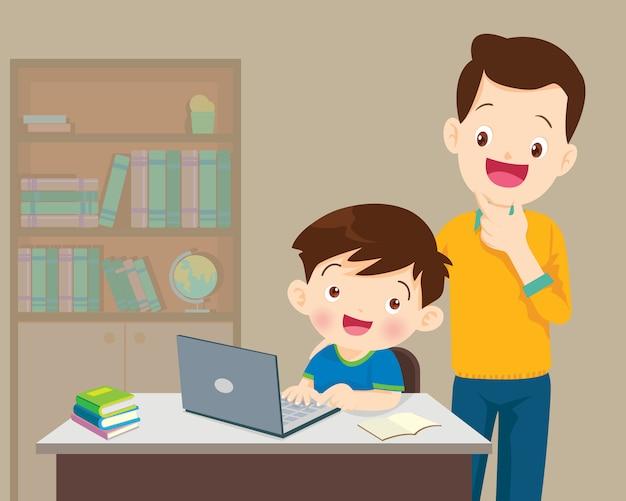 Papa et enfants garçon avec ordinateur portable Vecteur Premium