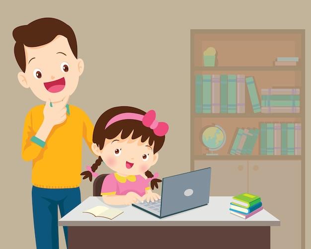 Papa être heureux pour quelque chose d'enfants fille avec un ordinateur portable Vecteur Premium
