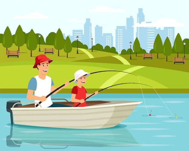 Papa et fils assis dans un bateau Vecteur Premium