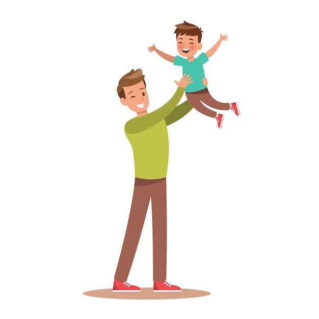 Papa et fils jouant Vecteur Premium