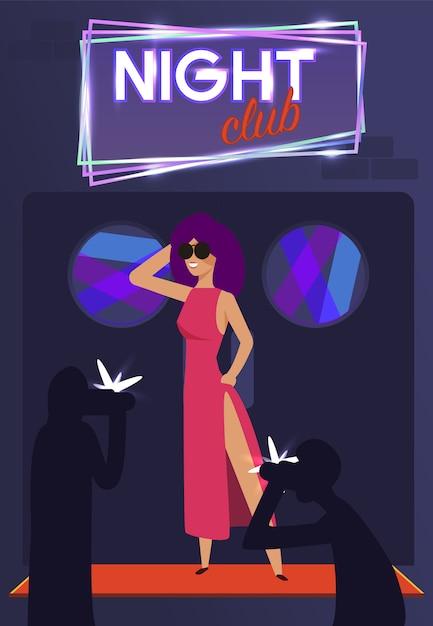 Paparazzi et étoile célèbre élégante au club de nuit Vecteur Premium