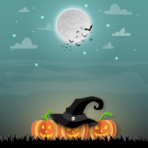 Paper art halloween, jack o'lantern et les chauves-souris en forêt Vecteur Premium