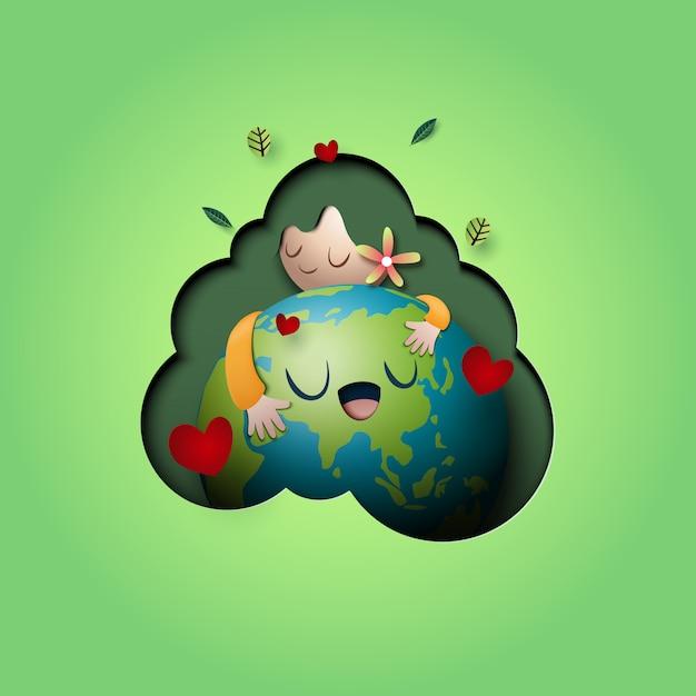 Paper art of amour nature concept et modèle de fond de concept de mère terre jour. Vecteur Premium