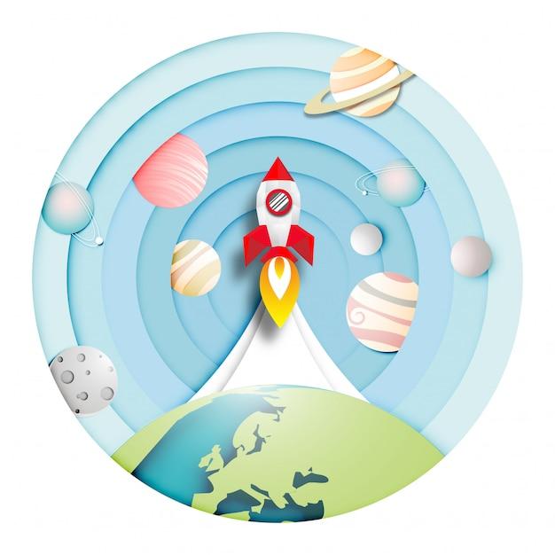 Paper art of rocket est lancé sur le système solaire Vecteur Premium